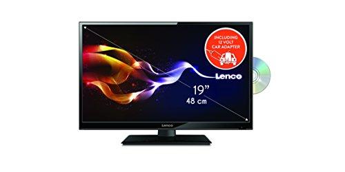 Lenco DVBT2 Fernseher  DVL-1961 TV 19 Zoll (47cm) HD LED TV mit  DVD-player und 12 Volt Kfz-Adapter