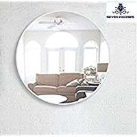 SEVEN HORSES Glass Wall Mirror (12 inch., White)