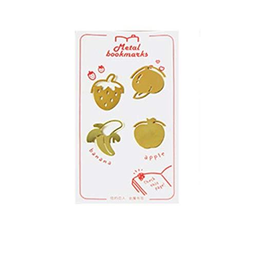 Hongma 4x Metall Lesezeichen Golden Obst Sushi Schreibwaren Lesezubehör Geschenke MEHRWEG (Sushi-lesezeichen)