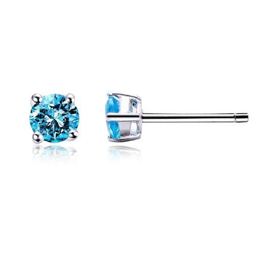 Da donna zircone cristallo luce blu rotonda stile classico argento 925 orecchini