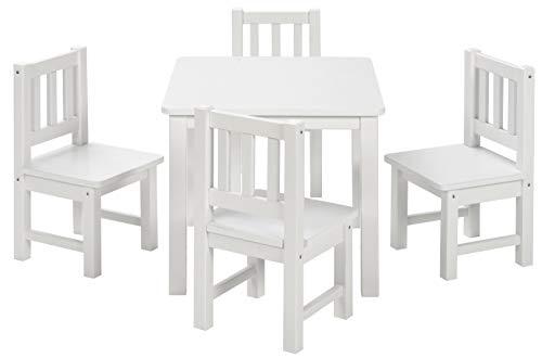 BOMI Spielsitzgruppe 4 Stühlchen Baby mit Tisch | Amy aus Kiefer Massiv Holz | Kinder Möbel Mädchen und Jungen | Sitzgruppe in Weiss -