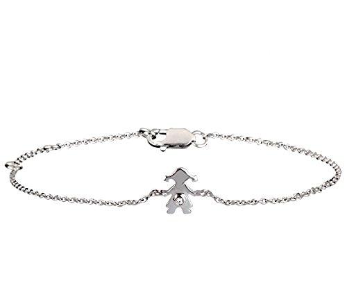 Or Blanc 9 ct Bracelet Diamant en forme de poupée, 0.01 Ct Diamant, GH-SI, 1.97 grammes.