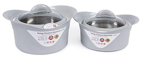 XXL Thermoschüssel (SET ) Isolierschüssel Kasserolle ( 2,2+3,5 Liter Lavendelgrau )