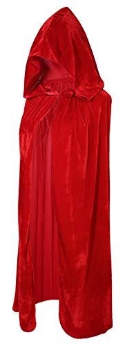 Crizcape Kinder Kostüm-Umhang aus Samt, Cape, Umhang mit Kapuze, ideal für Halloween-Partys, Alter: 2-18 Jahre - rot - S/Alter 2-4 (Im Halloween-kostüme Alter 3 Von)