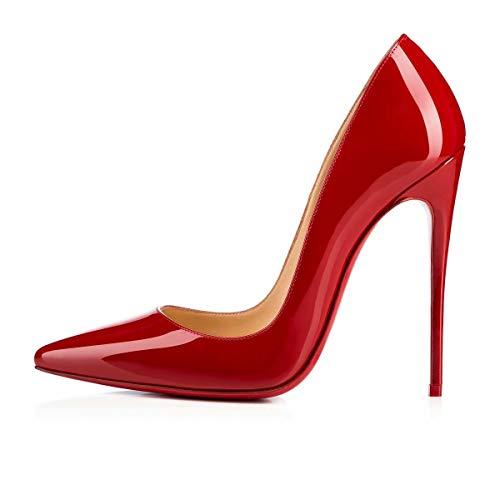 Caitlin Pan Damen Spitze High Heels Slip auf Stilettos Pumps Große Größe Party Abend Pumps Schuhe