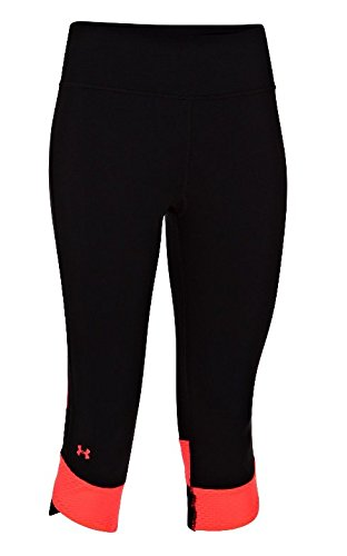 Under Armour Fly-By Compression Capri 3/4 Pants - Womens - Black/Reflective/Pink