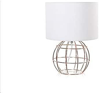Minimal Glam Lampada Da Tavolo Filo Metallo Ramato Cappello Bianco Amazon It Illuminazione