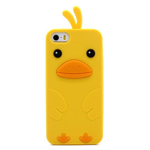 iPhone 5 / 5S / SE Hülle, Keyihan Niedlich 3D Küken Ente Weichem Silikon Handy Schutzhülle Case für iPhone 5 und iPhone 5S und iPhone SE (Gelb)