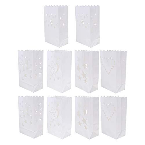 Baoblaze 10 Stück Papier Kerze Teelicht Laterne Taschen für Hochzeit Garten BBQ Weihnachten Geburtstag Dekoration