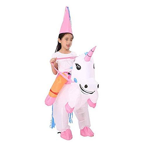 Kostüm Gorilla Reiten Ein - OLLVU Kinder Halloween Kreative Einhorn Reiten Aufblasbare Puppe Kostüme Lustige Requisiten Maskerade Eltern-Kind-Kostüme (Color : Pink, Size : 100-150cm)