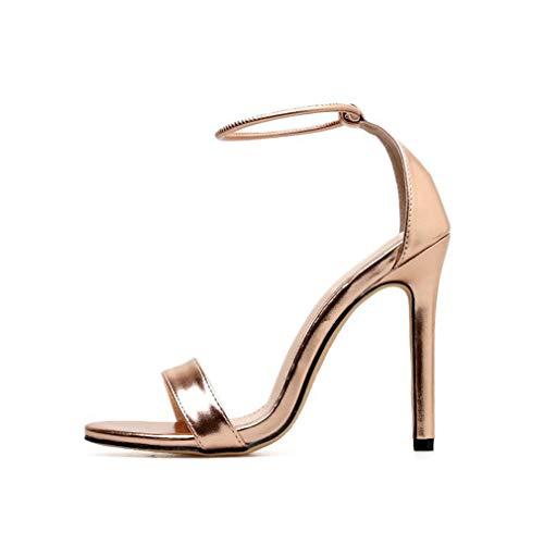 YAN Frauensandale 2019 Neue Stiletto-High Heels Patent Leder Hochzeitsschuhe Fashion Pumps Neuheit Schuhe Gold,A,37 -