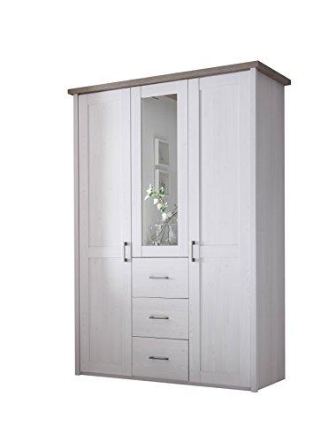 Stella Trading Luca 3-türiger Kleiderschrank, Holz, pinie weiß / trüffel, 62 x 150 x 212 cm