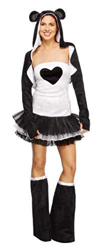 Fever, Damen Panda Kostüm, Tutu-Kleid mit abnehmbaren Trägern, Jacke mit Tierkapuze und Überstiefel, Größe: M, 22797 (Ideen Kostüm Tutus Für Erwachsene Mit)