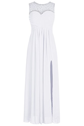 Bbonlinedress Robe de cérémonie Robe de demoiselle dhonneur col rond sans manches longueur ras du sol Blanc