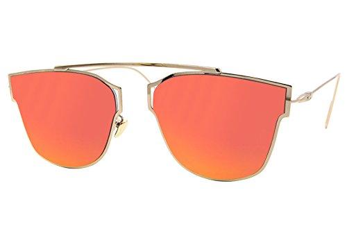 Cheapass Sonnenbrille Rund Golden Rot-Gold Verspiegelt Designer-Brille UV-400 Metall Damen Mädchen