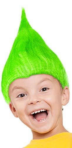 Troll Kostüm Herren - Balinco Troll Perücke für Kinder Mädchen & Jungen in pink, türkis und grün als Ergänzung für das Trolls Kostüm an Fasching und Karneval (Grün)