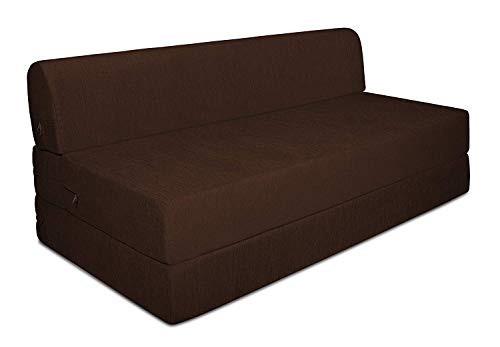 Aart Store Sofa Cum Bed 4x6 Two Seater Sleeps & Comfortably Perfect for Guests Brown Color