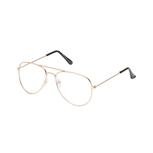 Stylen Clear Lens Golden Frame Aviator Style Sunglasses Eyeglasses