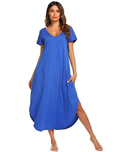 Kurzarm-nachthemd (ADOME Damen Nachthemd Kurzarm V-Ausschnitt Sleepshirt Nachthemd High Low Unregelmäßige Baumwolle Lange Nachtwäsche Schlafanzug Kleid mit Taschen)