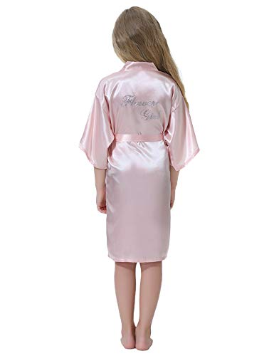 Aibrou Bata Satén Kimono Niñas Flores Bata de Boda Albornoz Camisón Seda Ropa de Dormir/natación/cumpleaños/Vestido...