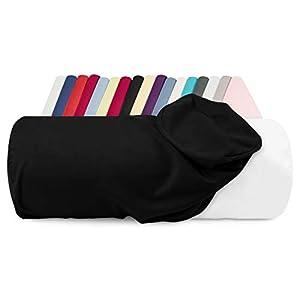 npluseins Jersey-Kissenhülle für Nackenrollen in 17 Farben - 100% Mako-Baumwolle - Einheitsgröße ca. 40 x 15 cm, Bezug in schwarz