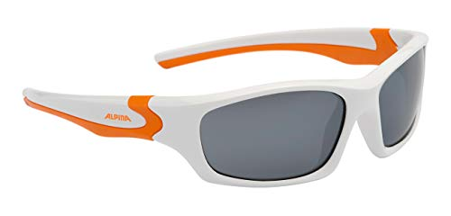 Alpina Kinder Sonnenbrille FLEXXY TEEN Sportbrille, White-orange, One Size