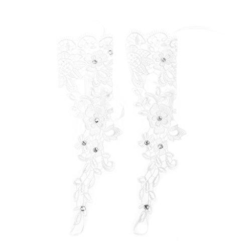 Dabixx Hochzeit Handschuhe, Hochzeit Braut Handschuhe Lace Bridal Dress Luxus Lange Fingerlose Accessoires Party White