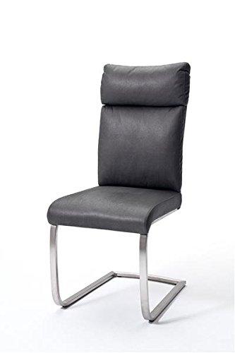 2 Stühle Rabea, Schwinger, Schwingstuhl, Freischwinger, grau