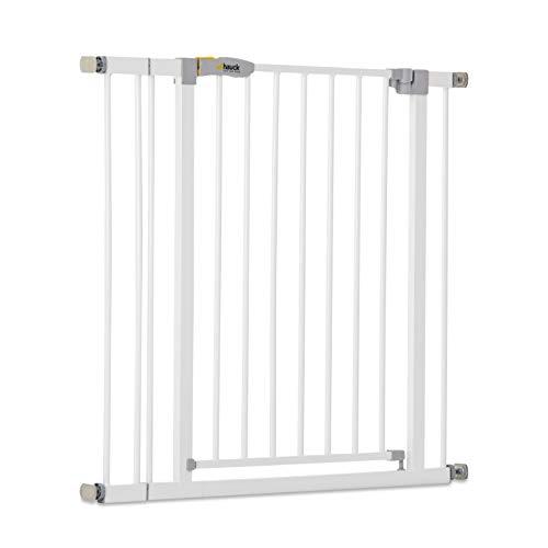 Hauck Open N Stop KD Türschutzgitter/Treppengitter/84 - 89 cm/ohne Bohren/erweiterbar mit Verlängerungen kombinierbar mit Y-Spindeln/ Metall/beidseitig schwenkbar/ weiß