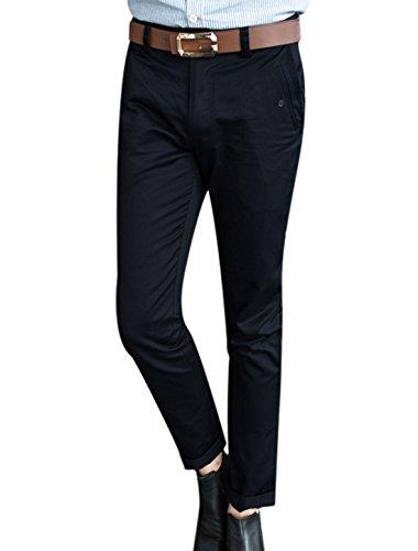 Hommes Taille Moyenne Deux Biais Poches Front Fin Pantalon Décontracté Bleu Marine