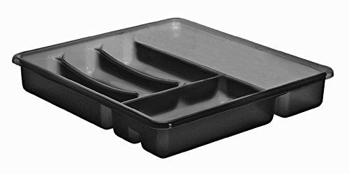 Rotho 1753108812 Besteckkasten Basic 6 Fächer, Schubladeneinsatz für Besteck aus Kunststoff (PP) Anthrazit, Besteckeinsatz für Schubladen ab 40 cm Breite, Circa 39 x 32 x 6 cm Besteckkasten, Plastik