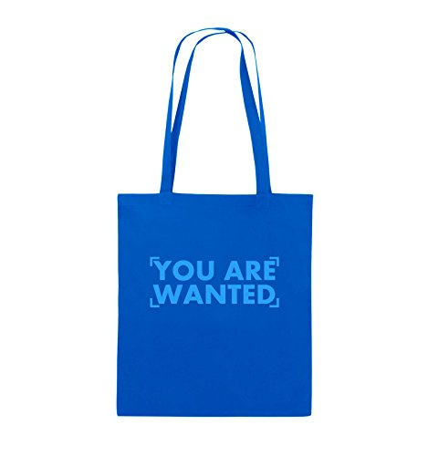 Comedy Bags - YOU ARE WANTED - LOGO - Jutebeutel - lange Henkel - 38x42cm - Farbe: Schwarz / Pink Royalblau / Blau