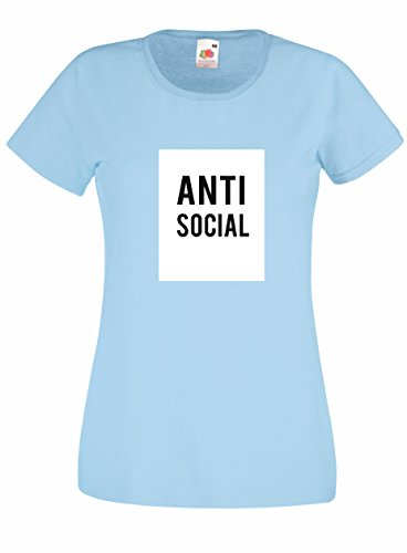 Settantallora - T-shirt Maglietta donna J2054 Anti Social Celeste