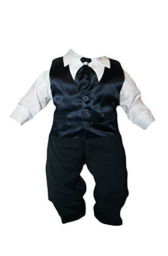 Taufanzug Baby Junge Kinder Hochzeit Anzüge Festanzug, 4tlg , Marineblau-Weiß K15 Größe 62