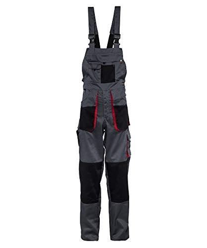 Stenso Torin® - Herren Arbeitslatzhose für die Arbeit mit vielen Taschen - Grau/Rot/Schwarz XS