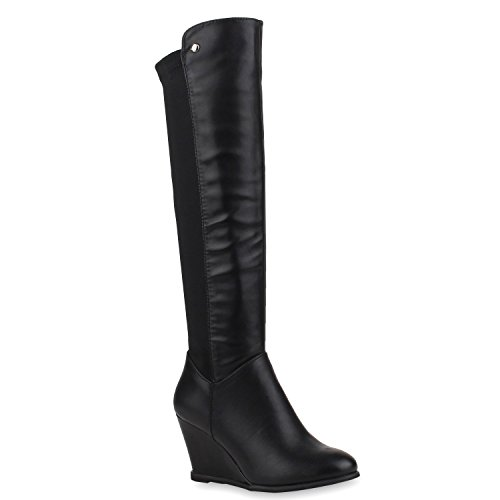 Modische Damen Stiefel Keilstiefel Nieten Lederoptik Schuhe 108654 Schwarz 38 | (Rabatt Stiefel Knie Hoch)
