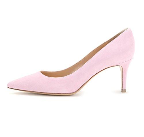 EDEFS - Escarpins Femme - 6 cm Kitten-Heel Chaussures - Bout Pointu Fermé - Classique Bureau Soiree Shoes pink