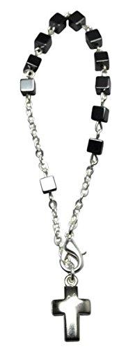 Armband - Rosenkranz * Hämatit Würfel - Metallkreuz (Kostüme Heiligen Katholischen)