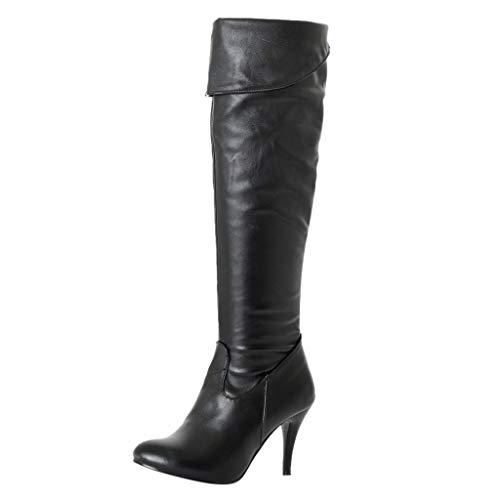 FeiBeauty - Women 8cm High Heel Over Knee Boots Fashion Snow Long Boot Warm Winter Footwear Heels Shoes Plus Size 3-8 UK