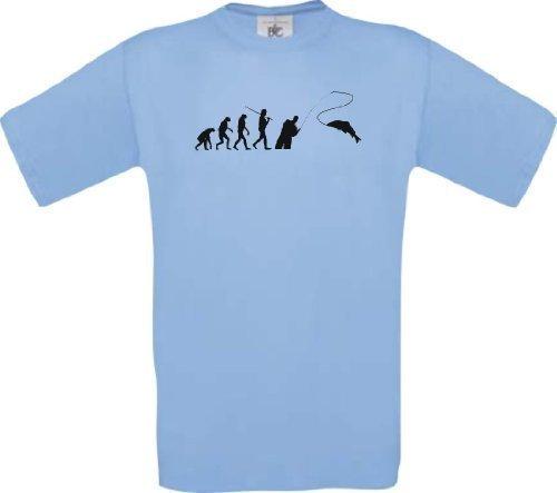 Kinder-Shirt Evolution Angler Fischen Angeln diverse Farben, Farbe hellblau, Größe 164