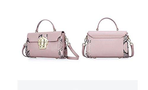 borse in pelle, cuoio serpentina di periodo di colore piccolo pacchetto fresco, borsa a tracolla, borse da donna Pink