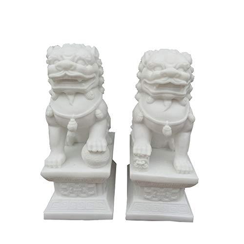 LINGS EIN Paar weiße Steinwächter-Statuen, Peking-Löwenpaar Fu FOO-Hunde, chinesisches Feng Shui-Dekor für Haus und Büro ziehen Reichtum und viel Glück, DREI Größen an,Medium - Outdoor-löwen-statuen