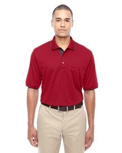 Men's Motive Performance Pique Polo with Tipped Collar CL RED/ CRBN 850 4XL (Pique Performance Polo E)