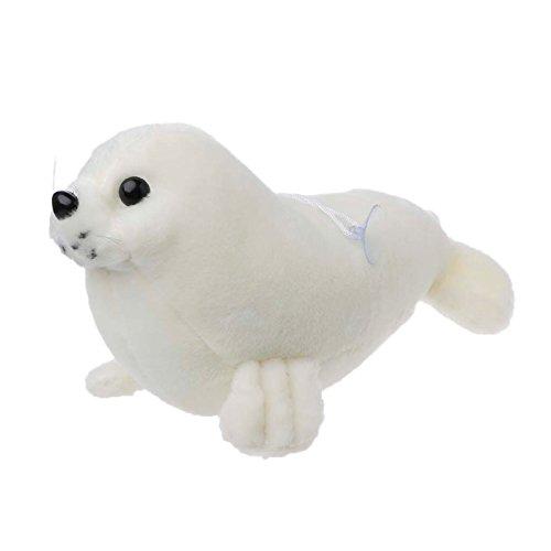 Junlinto - Juguetes de Peluche de Kawaii con Sello de Animales Marinos, Blanco, 26 cm