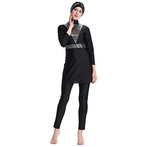 Schwimmen Stil 50's Kostüm - Meijunter Bescheidene Muslimische Badeanzug Burkini - Frauen Badebekleidung Set Hosen Hijab Volle Abdeckung Schnell Trocknend Beachwear Elastischer Badeanzug Sonnenschutz UPF 50+