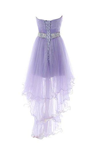 Fanciest Women's Strapless Beaded High Low Ballkleid Abendkleider Kurz Homecoming Kleid Royal Blue