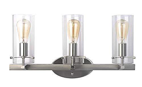 Glas Lampenschirm Öl reiben Bronze Wandleuchte @ Nickel gebürstet , 3 Lights_3 Lights -