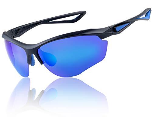 Yaroce HD Vision polarisierte Sonnenbrille für Herren, Baseball, Angeln, Radfahren, Golf, Laufen, Autofahren, Sport, Militär Tac Sonnenbrille, FDA-genehmigt, Herren, Matte Black+Blue, NOT