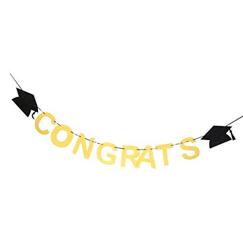 MagiDeal Glückwunsch Graduierung Cap Filz Banner Feier Party - Gelb