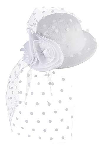 DEMU Mädchen Kinder Faszinator Federhut Haarklammer Minihut Zylinder Cosplay Party Theater Weiß (Kate Middleton Halloween-kostüm)